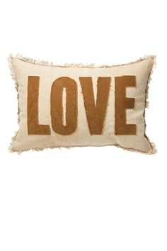 """Rustic, yet frilly at the same time... We love this LOVE pillow. Comes pre-stuffed with a cotton canvas cover.    Measures 15"""" x 10""""   Love Pillow by Primitives by Kathy. Home & Gifts - Home Decor - Pillows & Throws Portland, Oregon"""