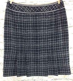 Caslon Nordstrom Womens Skirt Black Plaid Pleated 6P Tweed Lined Career 6 Petite #Caslon #Pleated #Career