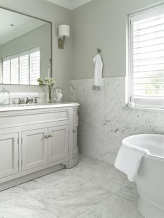 Double Vanity Unit includes a base unit painted in Moher with a Carrara marble top. At Porter every bathroom vanity is bespoke. Family Bathroom, Small Bathroom, Master Bathroom, Neptune Bathroom, Bathroom Ideas, Marble Bathrooms, Gold Bathroom, Washroom, Bathroom Rugs