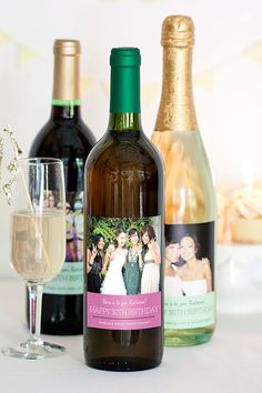 Milestone Birthday Wine with personalized photo wine labels from Evermine {www. Happy 30th Birthday, Friend Birthday, Birthday Parties, Milestone Birthdays, Wine Labels, Custom Labels, Special Day, Wine Bottles, Celebrations