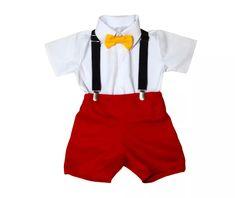 conjunto mickey: short + camisa +suspensório + gravata