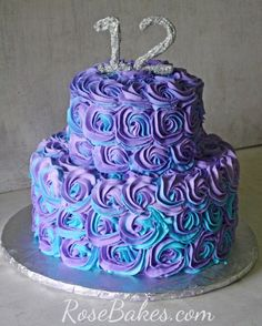 Purple and Teal Swirled Buttercream Roses Cake