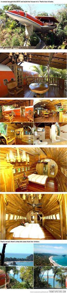 Dream of a Pilot- woman bought B727 and built her house in it.