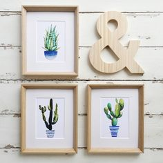 This is a set of THREE giclee prints of succulents/cactus. These prints are my best-sellers and I have discounted them if you buy all three in