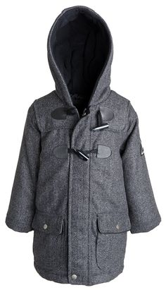 Big Chill Little Boys Wool Look Herringbone Lined Toggle Dress Coat - Grey (3T). Ultra thick wool look outer shell. Slightly padded for added warmth. Fleece lining in the hood. Dressy style with toggles. Machine wash cold.