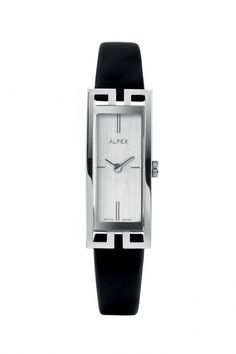4fe01328fa2 Alfex Rectangular Silver Dial On Leather Strap
