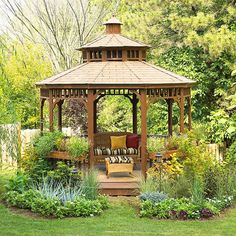 This beautiful gazebo looks like a good spot to read and rest.