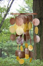 Brown Gold Capiz Wind Chime Woodstock Yard Garden Decor Sea Shells Decoration