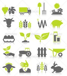 Buy Agriculture by aleksandr-mansurov-ru on GraphicRiver. Set of icons on a theme agriculture. A vector illustration Logo Agriculture, Vector Verde, Icon Design, Logo Design, Web Design, Graphic Design, Logos, Up Theme, Farm Logo