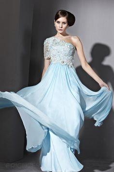 Excellent A-Line Floor-Length One Shoulder Evening Dress.