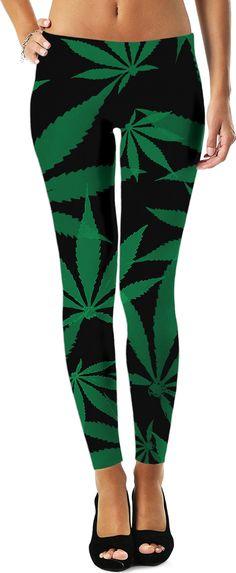 Ganja cut in Fabric green and black pattern, cannabis leafs on dark fabric leggings Girls In Leggings, Girls Pants, Girl Fashion, Fashion Design, Style Fashion, Unique Fashion, Girl Outfits, Fashion Outfits, Joggers Womens