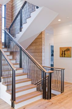 Brookes and Hill Custom Builders : Top of the World Unique & beautiful staircase Modern Stair Railing, Staircase Handrail, Balcony Railing, Modern Stairs, Railing Design, Staircase Design, Staircases, Transitional Fireplaces, Transitional Chandeliers