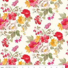 Bright Floral Fabric on Cream - Farmhouse Floral - Nancy Zieman for Riley Blake - 1 Yard Cut BTY - Red Pink Gold Floral Fabric by Jambearies on Etsy Cotton Quilts, Cotton Fabric, Linen Fabric, Cotton Linen, Printable Fabric, Farmhouse Fabric, Shade Flowers, Thing 1, Flower Doodles