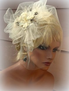 Bridal Veil and Fascinator set in ivory   Modern by kathyjohnson3, $75.00