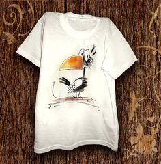 T-shirt enfants peints à la main. T-shirt drôle crow peindre à la main. T-shirt…