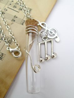 Glass vial music clef and note charms Necklace by WhimsyJig, €12.00