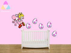 Baby Princess Peach and Pink Yoshi and Eggs - Large Wall / Nursery / Crib Decal - Nintendo. $45.00, via Etsy.