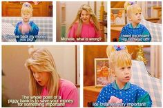 Full House ... Michelle fighting with her piggy bank so she can buy Ice Cream   life of a princess | Tumblr