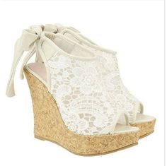 Hansenne Lace wedge heels sandals high-heeled shoe ($43.00)