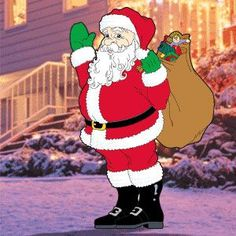 """Waving Santa Pattern:  Sherwood exclusive! Waving Santa jolly gift-giver attracts attention as he waves to all who pass by. 64""""H x 40""""W.   Pattern #1035  $11.95   ( crafting, crafts, woodcraft, pattern, woodworking, yard art ) Pattern by Sherwood Creations"""