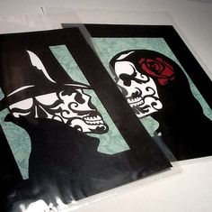 2 pc Sugar Skull Day of the Dead Layered Papercut by MinksPaperie, $40.00