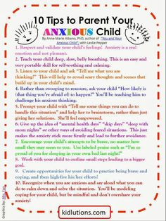 tips to parents for your anxious child