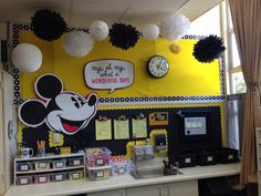 Disney classroom mickey mouse classroom, disney classroom, first grade clas Mickey Mouse Classroom, Disney Classroom, Classroom Door, Kindergarten Classroom, Future Classroom, Music Classroom, Classroom Decor Themes, Classroom Design, Classroom Ideas