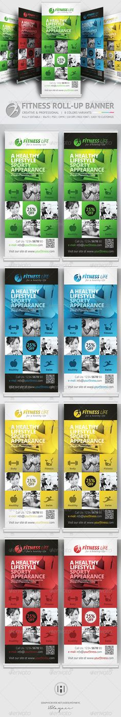 Fitness Roll Up Banner  — PSD Template #clean #fitness • Download ➝ https://graphicriver.net/item/fitness-roll-up-banner/7499006?ref=pxcr