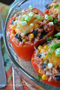 Santa Fe Stuffed Peppers        Prep Time: 25 minutes  Ingredients  3/4 lb ground turkey breast   1 1/2 Tbsp cumin   1 tsp kosher salt   1 can (28oz) Classico Crushed Tomatoes   1 can (15.25oz) black beans, rinsed and drained   1 can (15.25oz) sweet corn, drained   3 cup Jasmine Rice (cooked)   8 fresh Sweet Red peppers   1 cup reduced fat Colby Jack cheese   2 green onions, sliced
