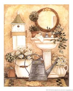 Diane Knott - bathroom print - my original art. Bathroom Artwork, Bathroom Prints, Decoupage Vintage, Decoupage Paper, Estilo Country, Country Paintings, Country Art, Kitchen Art, Vintage Prints