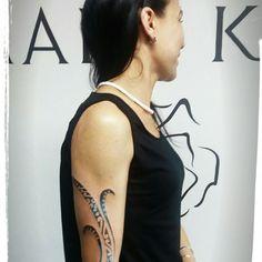 Polynesian ornament tattoo freehand hands blackblue