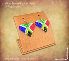 African Beaded Earrings Heart Design - SA Flag Colours