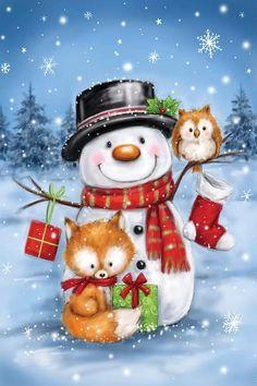 Christmas Rock, Christmas Scenes, Christmas Animals, Christmas Pictures, Christmas Snowman, All Things Christmas, Christmas Time, Vintage Christmas, Christmas Crafts
