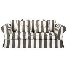 Vaste zitbank met 3/4 plaatsen, grijs/wit gestreept