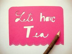 Tea Greeting Card  Papercut Pink with Lace by AshleyPahl on Etsy, $5.00