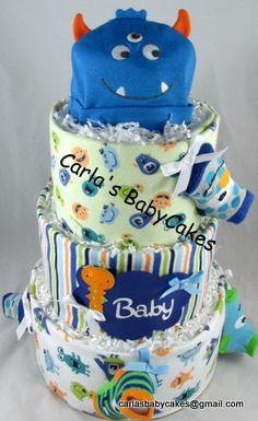 Monster Diaper Cake Baby Diaper Cake Boy Baby by MsCarlasBabyCakes, $110.00