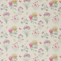 Sanderson Fabric - Harebells & Violets (225519)  A beautifully observed and well-drawn study of British flowers and butterflies, this fabric design has been painted in subtle watercolour with a mono-printed drawn outline over the top.