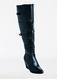 Tall Faux Leather Strappy Wedge Boot - Wide Width