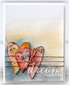 Efficacious Scrap Book Pages - Kaarten Maken Valentine Love, Valentine Day Cards, Karten Diy, Atc Cards, Heart Cards, Watercolor Cards, Watercolor Background, Greeting Cards Handmade, Love Cards Handmade