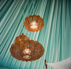 more mint draped fabric Event Lighting, Porch Lighting, Cool Lighting, Lighting Design, Kitchen Lighting, Green Chandeliers, Gypsy Living, Draped Fabric, Fashion Lighting