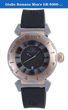 Giulio Romano Men's GR-5000-13-007.09 Ferrara Rose Gold IP Rotating Bezel Black Dial Watch. Rose gold ip stainless steel case with italian symbol on caseback. Rotating bezel featuring rose-gold ip top-ring with cut out indexes revealing grey plastic. Black and grey dial with embossed indexes and a date window at 6 o'clock. Gr signature crown with studs. Grey plastic insert attaching the black silicone band to the case. Water resistant to 330 feet (100 M): suitable for snorkeling, as well…