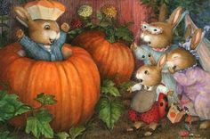 Holly Pond Hill illustration by Susan Wheeler Susan Wheeler, Bunny Art, Cute Bunny, Lapin Art, Woodland Creatures, Beatrix Potter, Halloween Art, Happy Halloween, Cute Illustration