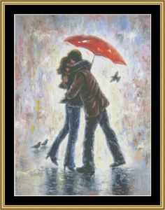 Kiss In The Rain [VW-09] - $16.00 : Mystic Stitch Inc, The fine art of counted cross stitch patterns