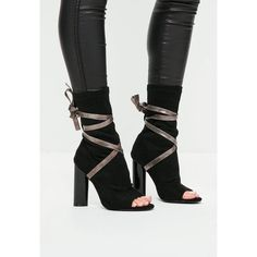 Missguided Ankle Tie Peep Toe Strappy Boots ($72) ❤ liked on Polyvore featuring shoes, boots, ankle booties, black, black boots, high heel booties, black high heel boots, peep-toe ankle booties and black high heel ankle booties