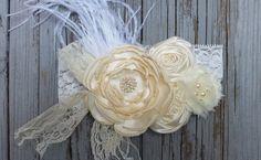 Vintage Shabby Chic Headband-Ivory Lace Headband-Ivory Headband-Ivory Girls Headband-Ivory Flower Girl Dress-Ivory Flower Girl-Boho Heaband