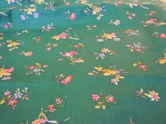 Green Vintage Cotton Floral Fabric - Green Fabric with Yellow & Pink Flowers  78.  $10.00