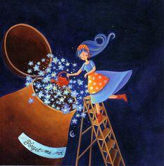 "Marie Cardouat square card cm) ""Forget me not"" Illustration Nocturne, Night Illustration, Drawing Lessons For Kids, Art Drawings For Kids, Marie Cardouat, Art Fantaisiste, Spirited Art, Funky Art, Pin Art"