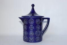 Portmeirion Totem blue covered jug 1960s 19.5 by MillCottageRetro
