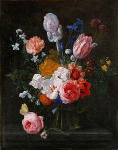 Nicolaes van Veerendael - Bouquet of Flowers in a Crystal Vase, 1662