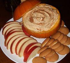 pumpkin dip: vanilla pudding, cool whip, can of pumpkin pie filling